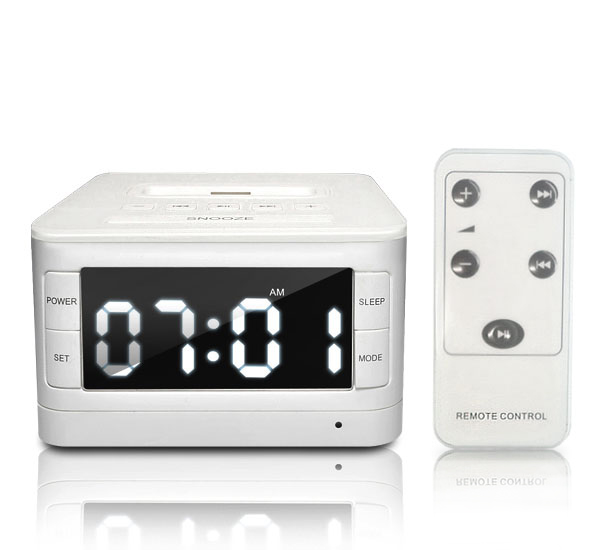 radio alarm clock w speaker charger dock for apple ipod iphone 3g 3gs 4 4s. Black Bedroom Furniture Sets. Home Design Ideas