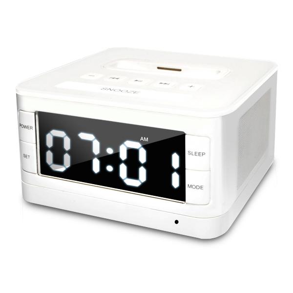 radio alarm clock w speaker charger dock for apple ipod iphone 3g 3gs 4 4s ebay. Black Bedroom Furniture Sets. Home Design Ideas